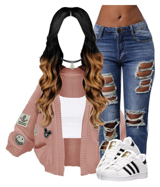 """Denial"" by queen-tiller ❤ liked on Polyvore featuring WithChic, Topshop and adidas"