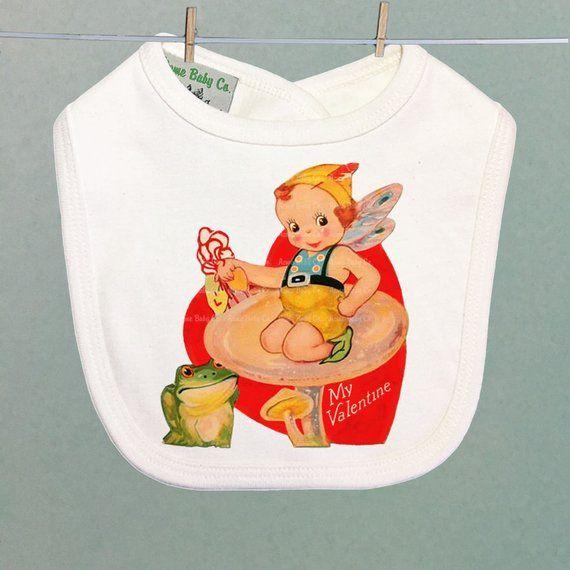 Graphic illustration of flowers and kitchen vintage utensils. Kitsch Baby Shower Gift Retro Kitchen Organic Baby Bib