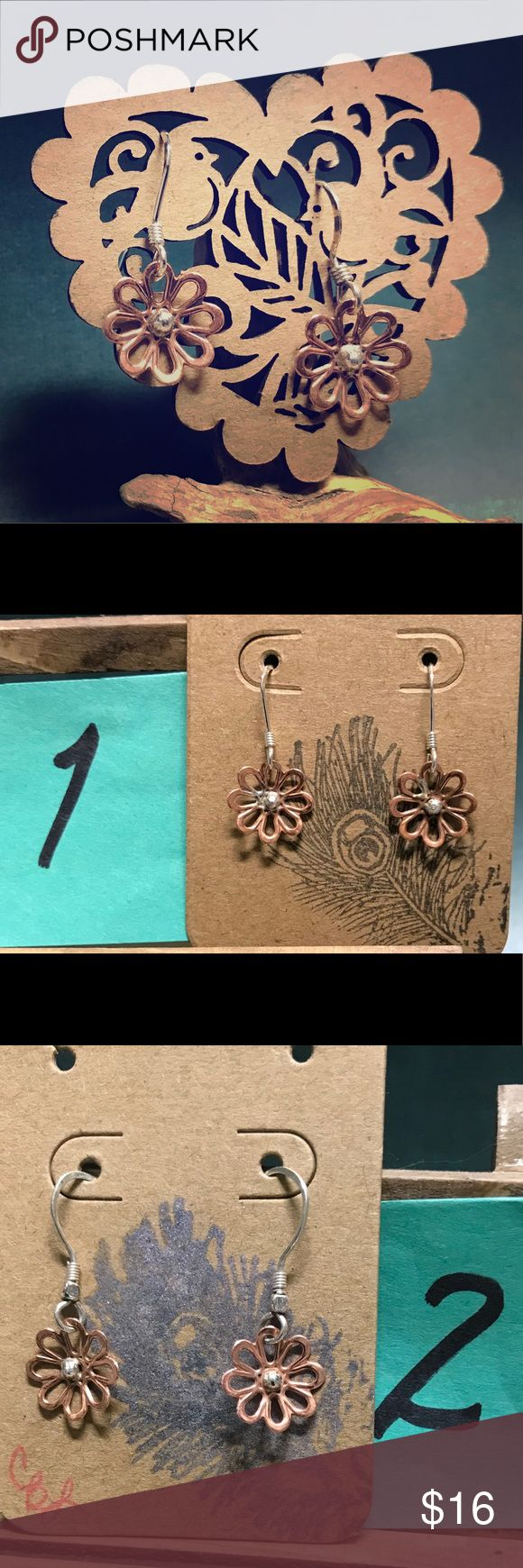 Delicate copper & sterling flower earrings [CBL] Sweet little copper and sterling silver flower 🌸 earrings! (So cute I kept a pair for myself 😊 – something that I rarely do!) Delicate sterling silver ear wires (from USA jewelry supplier, stamped 925 on flat portion or actual earwire). Great 🎁- comes with box. Indicate which pair you'd like. These are handmade so each will have slight variations. Just comment below which # you would like.  ✨Discount for all 3...otherwise, price firm unless…
