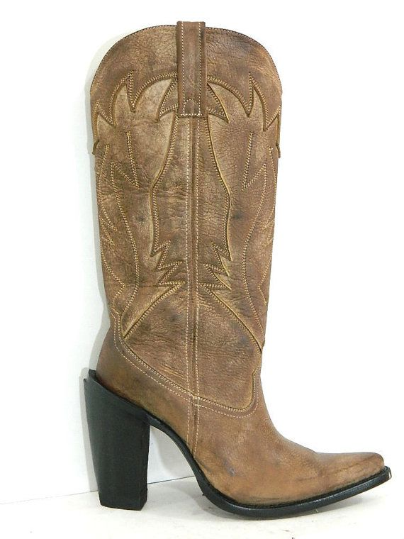 9a860dbcc7d3e Men Cowboy boots 16 inch tall Distressed brown leather inlay 5 inch heel  men size 11 stock