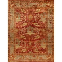 Oushak OSH108A Rug Red/Green - Hand-knotted of fine wool in India, our Oushak Collection rugs feature traditional pattern motifs that complement transitional as well as traditional settings. Updated with the latest fashion colors. Clean spills by blotting with a clean cloth. For hard-to-remove stains; professional dry-cleaning is recommended. Use of a rug pad is recommended. Please call for other size availability. Please note all sizes are approximate.