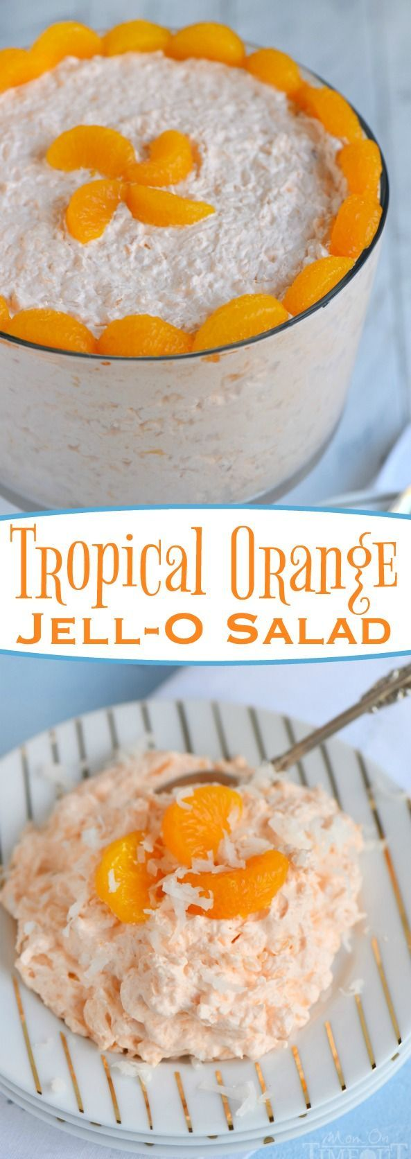 The refreshing flavors of orange, pineapple and coconut pair beautifully in this easy to make, one-bowl Tropical Orange Jello Salad! Great for parties, BBQs and picnics! // Mom On Timeout