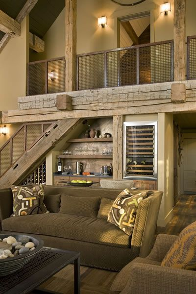 Interior wall paint color madison house, - reclaimed lumber - excellent use of of under stairs space