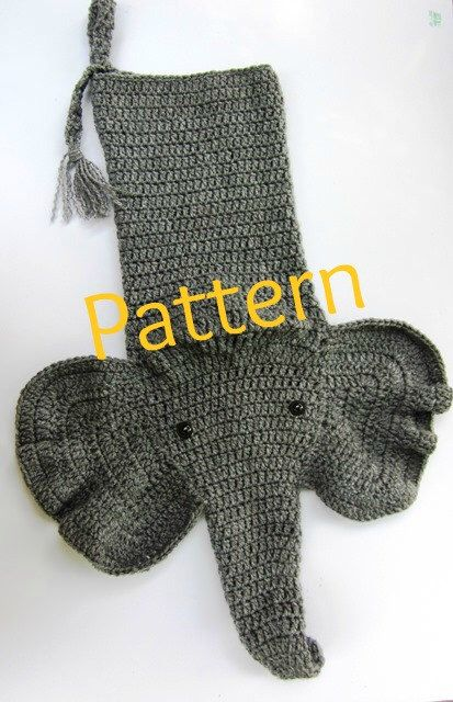 Crocheted Elephant Christmas Stocking Pattern by PatternedOnPurpose on Etsy https://www.etsy.com/listing/164665918/crocheted-elephant-christmas-stocking