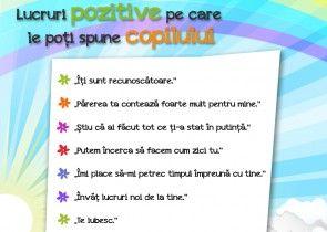 Lucruri pozitive pe care le poti spune copilului
