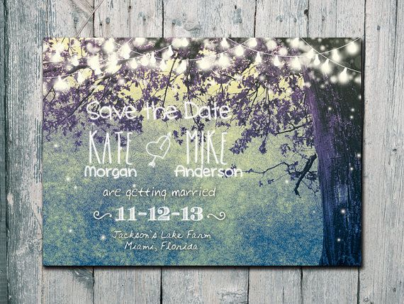 Printed Card | 50-75 Sets | Teal - Romantic Garden and Night Light Wedding Save the Date Card - Wedding Stationery - ID210T
