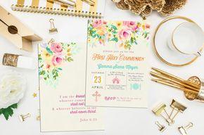 Flores primera invitación de la comunión. Invitación floral del bautismo. Icono personalizado primera comunión. Invitan a icono. Comunión. Invitación de comunión de niña