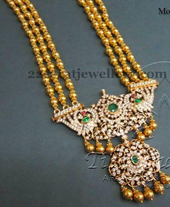 Jewellery Designs: Tibarumal Beads Set in Temple Style