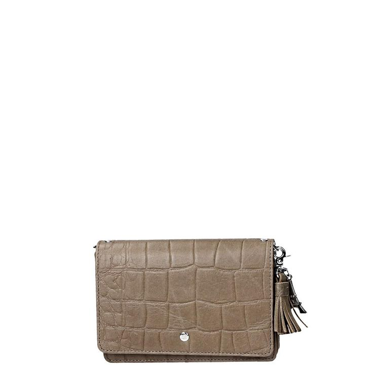by LouLou clutch Vintage Croco sand