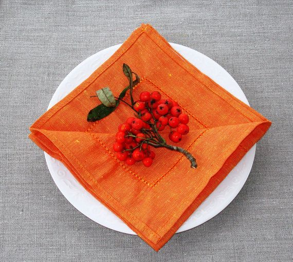 BRIGHT ORANGE hemstitched semi linen napkin set of 6. Plain woven, soft and elegant cloth napkins for wedding, dinner or any other occasion. Easy