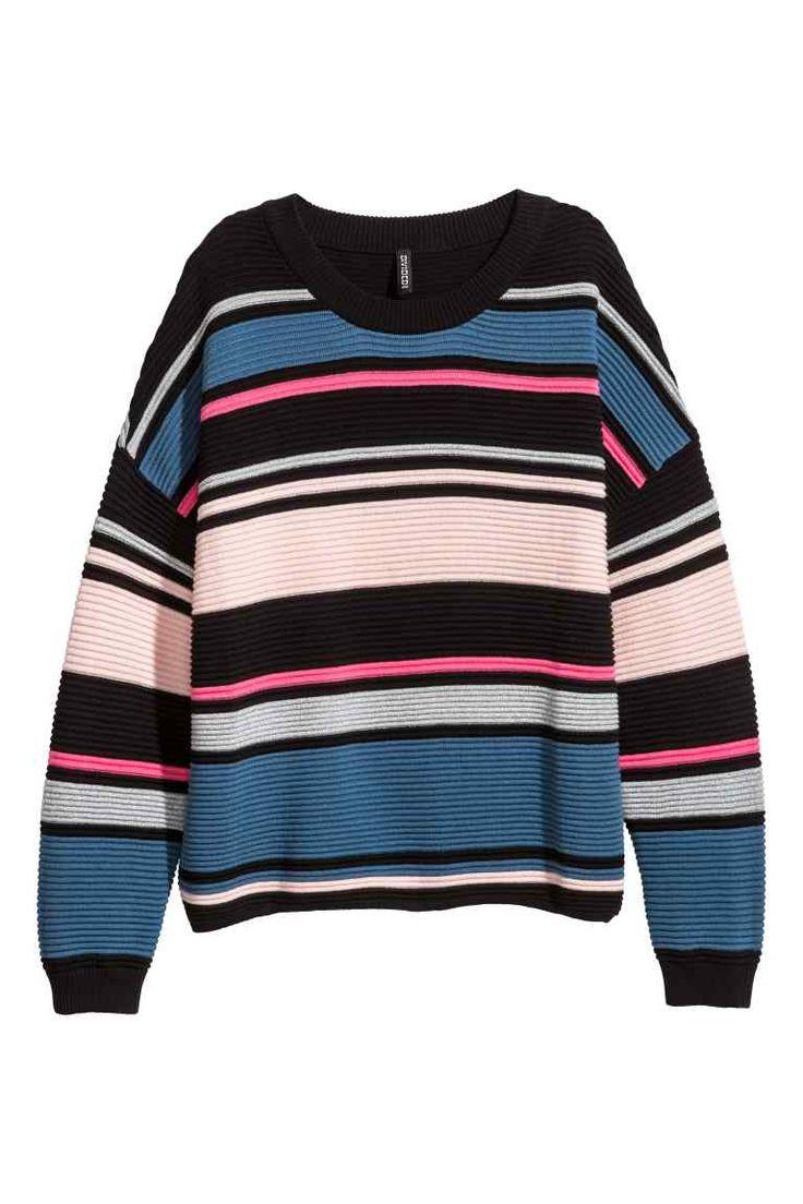 Ribgebreide trui - Roze/zwart gestreept - DAMES   H&M NL