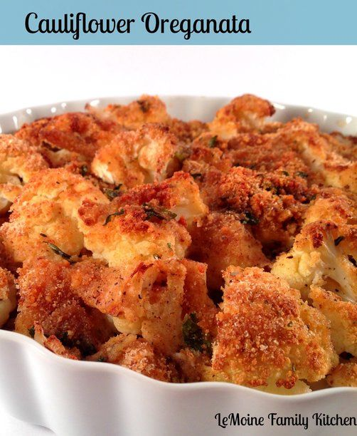 Recipe for Baked Crunchy Cauliflower - add 1/2 cup of water or vegetable broth.  Use panko instead of bread crumbs.