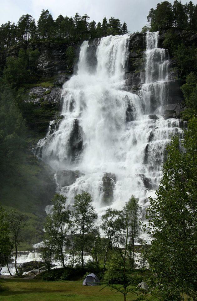 Waterfall next to campsite, Norway. Photo credit: Linda Teslik