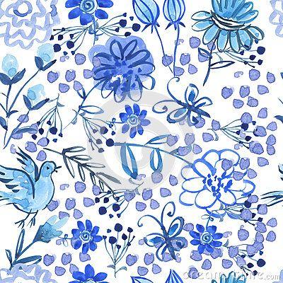 Beautiful, watercolor, flowers seamless pattern