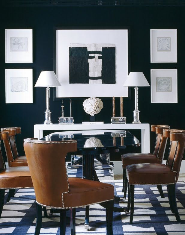 Crisp Navy Blue And White Dining Room Beautiful Love The Leather Chairs Dorothy Durbin Eye On Design Pinterest