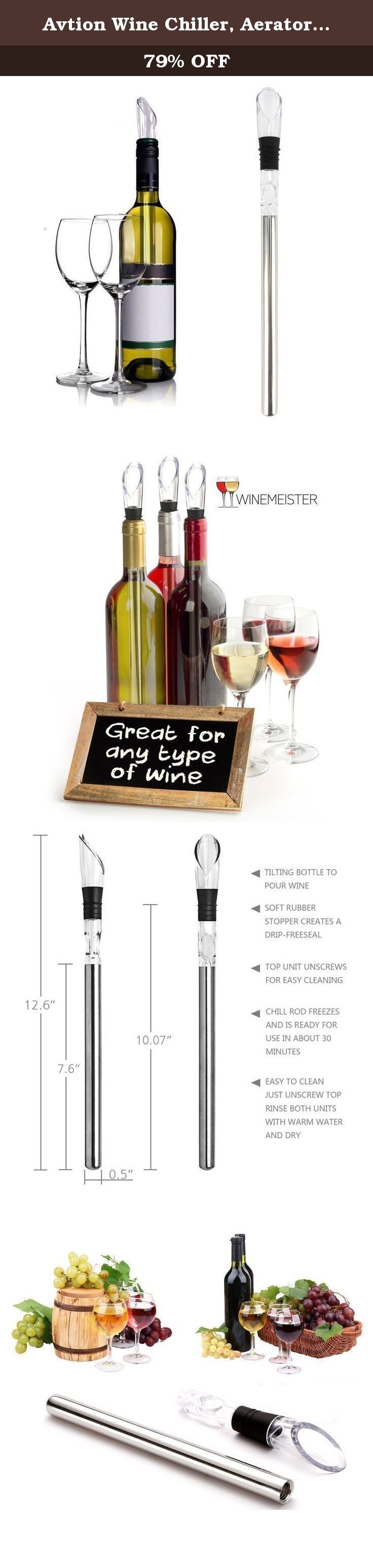 Avtion Wine Chiller, Aerator and Pourer: Enjoy a Glass of Perfectly Chilled Wine with the 3 in 1 Stainless Steel Wine Chill Rod (Mode 2). Family Care 3 in 1 wine chiller allows wine to be kept at the perfect drinking temperature without making it less tasty. MAIN FEATURES: • Easy to clean (hand-wash only) • Stainless chiller stick keeps wine chilled for 30 minutes • Pourer is well-designed and allows taste preservation MAIN BENEFITS: • BPA free stopper prevents leaking during pouring •…