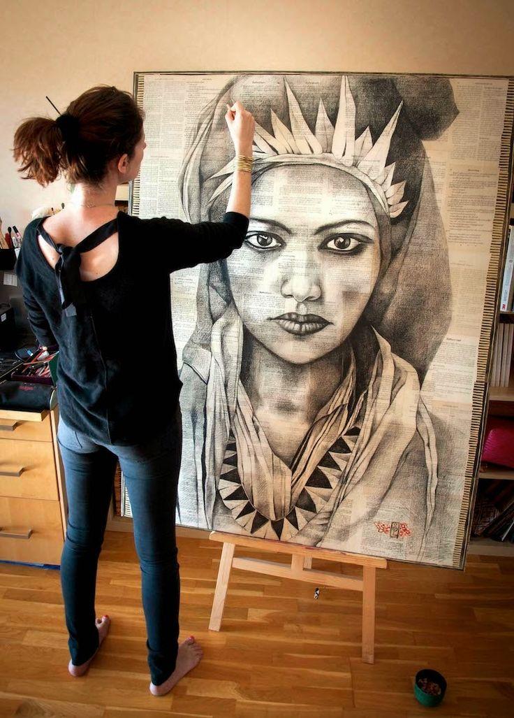 Quelques heures de collage  Deux nuits de dessin  4 crayons usés  1/2 bombe de fixatif...               ... pour une toile trop grande (114...