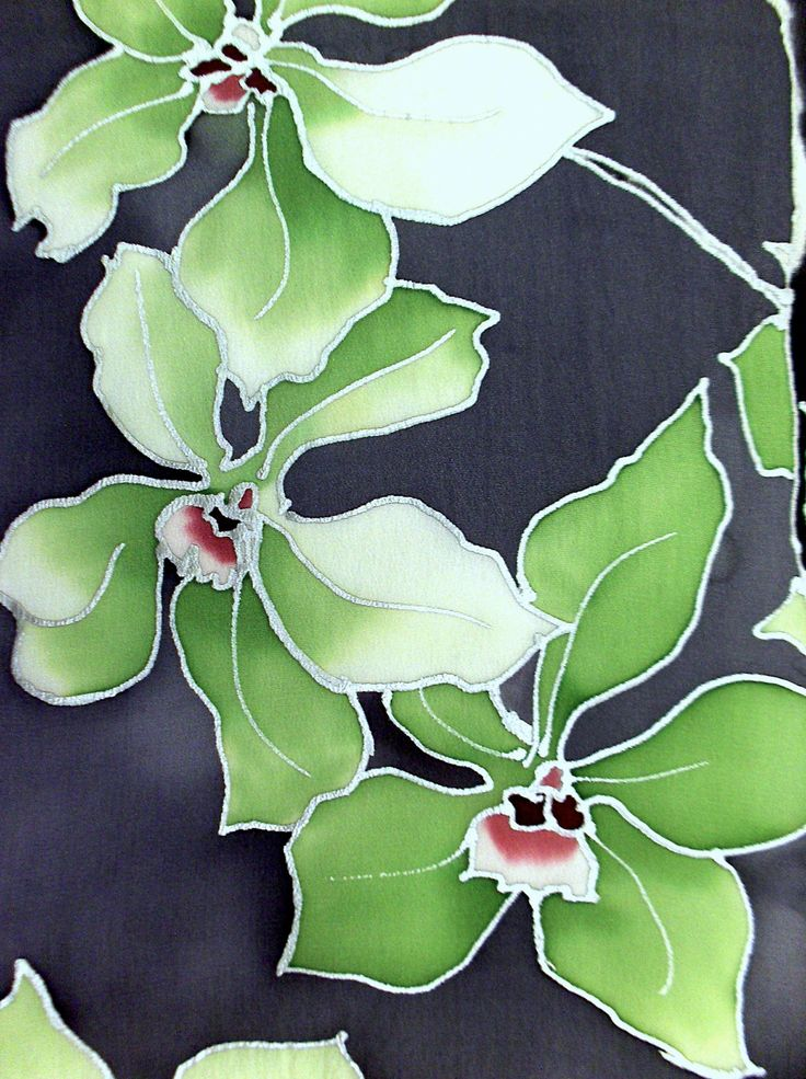 Hand painted silk scarf. Ice Green Orchids Gray Scarf. Silk Scarves Takuyo. Gray Silk Scarf. Silk Dye. 8x54 in. Made to order.. $80.00, via Etsy.