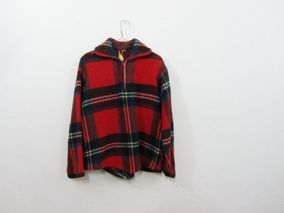 1960's Plaid Coat - Classic Scottish Plaid Wool in a Pullover Jacket Design M L