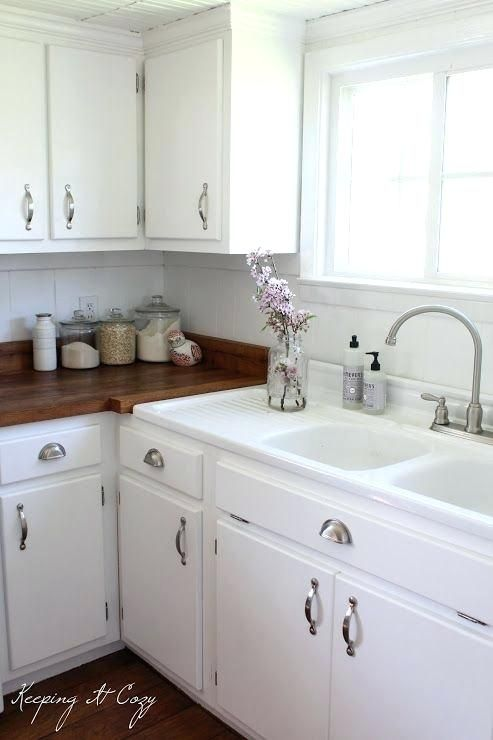 White Cabs Wood Counters  white Sink With Built In Drainboard Old