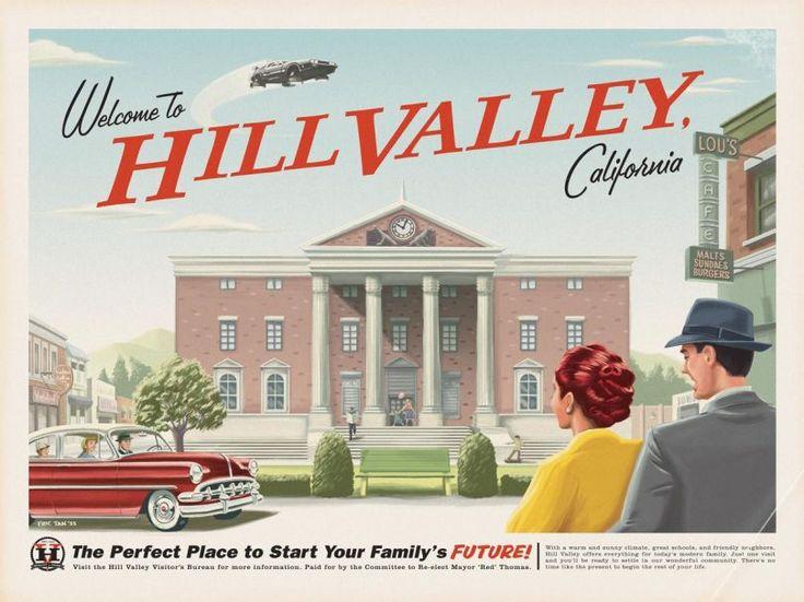 Une affiche promotionnelle de Hill Valley, inspirée par la trilogie Retour vers le futur