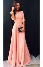 Мода женщины одеваются 2016 сексуальный розовый невесты элегантный Vestidos половина рукава о-образным шеи длиной макси платье женские платья(China (Mainland))
