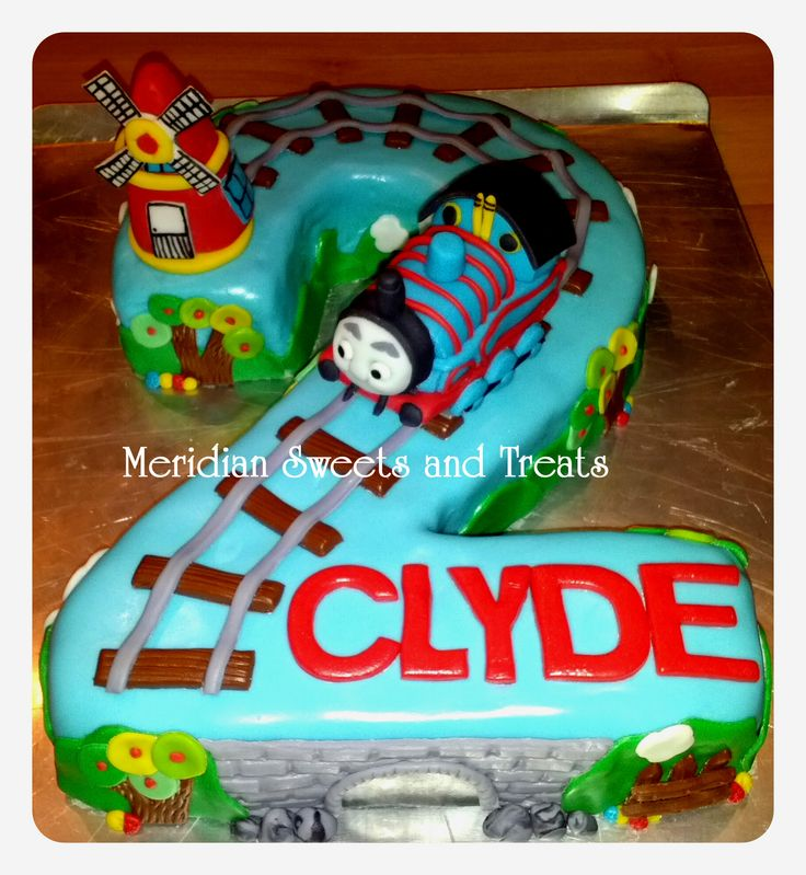 "Thomas the train cake for a two year old by FB page ""Meridian Sweets and Treats."" #traincake, #thomasthetrain, train birthday, second birthday."