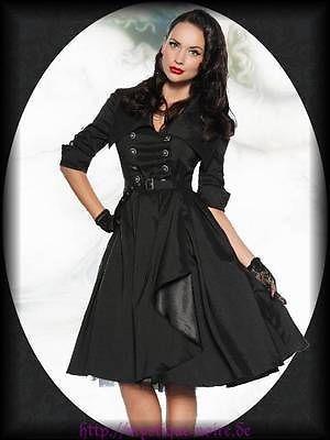 Rockabilly Vintage Kleid schwarz Satin 40er 50er Gothic PinUp Psychobilly kaufen bei Hood.de - Farbrichtung Schwarz Material Satin