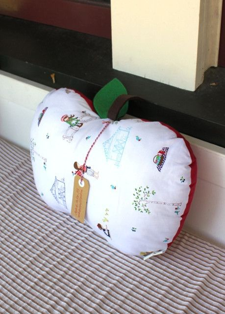 "Gorgeous Riley Blake ""Country Girls"" fabric, Apple Cushion."