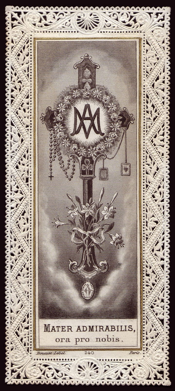 Lace, cross, Ave Maria, rosary, scapular...this holy card has it ALL! :D