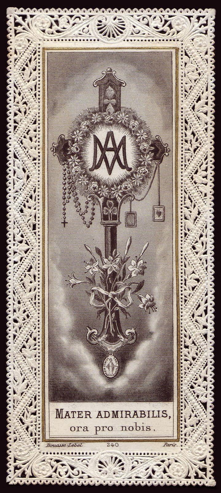 Mãe Amável, rogai por nós! Monograma de Maria com as principais devoções marianas.