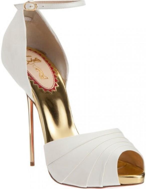 Christian Louboutin | white & gold open-toe stilettos