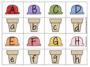Summer Ice Cream Alphabet Match free printable.