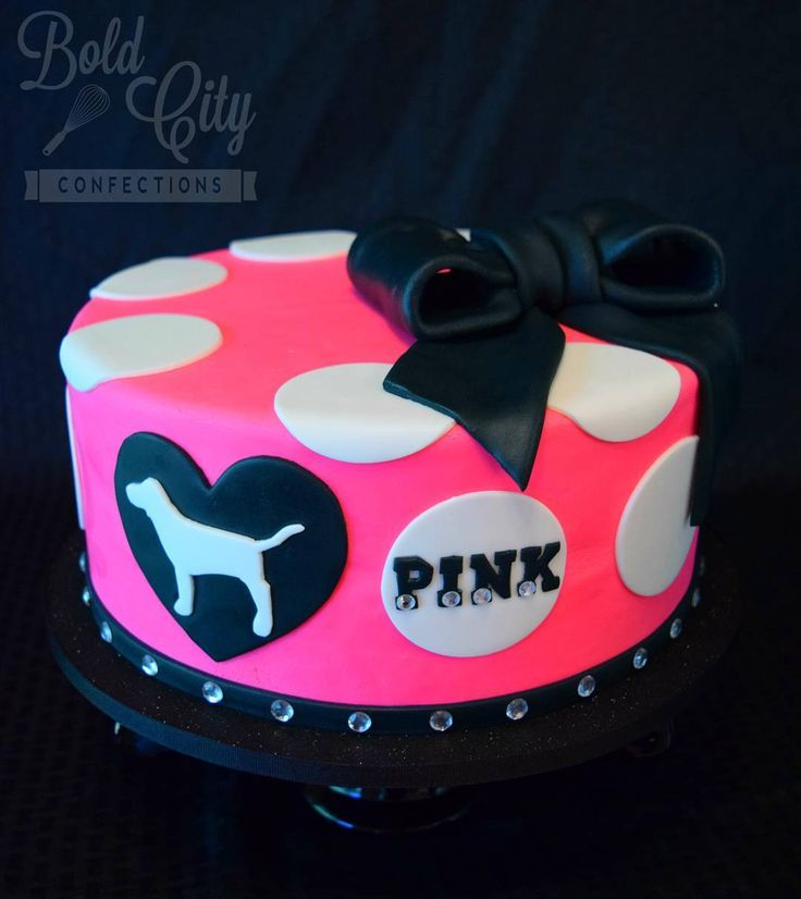 Pink Victoria's Secret birthday cake