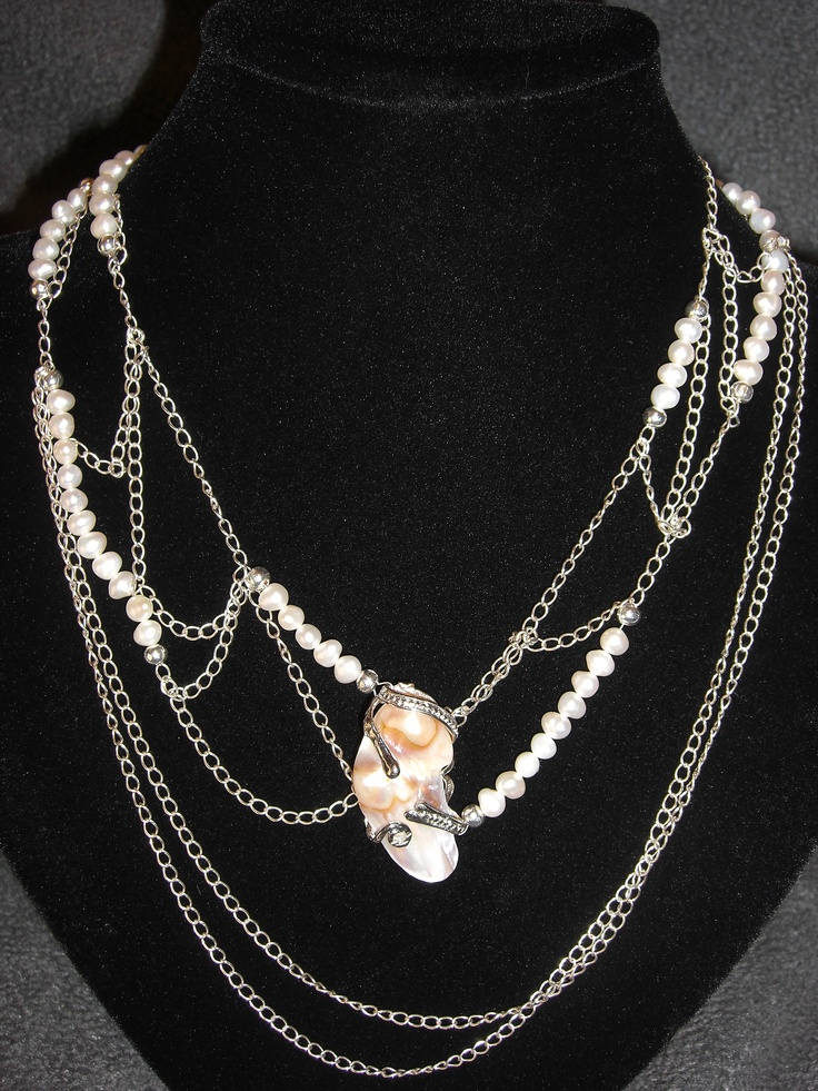 """""""Charlotte's Web"""": Fresh Water Pear and Sterling Silver."""