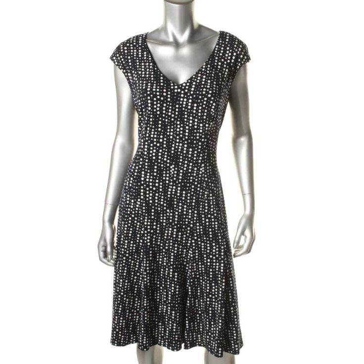 Anne Klein Womens Crepe Polka Dot Wear to Work Dress