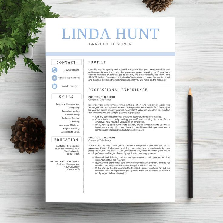 Profesional Creative Resume Template for Word (US Letter and A4) 1 & 2 Page CV Template, for Mac Instant Download, Cover Letter, lebenslauf by MyResume on Etsy