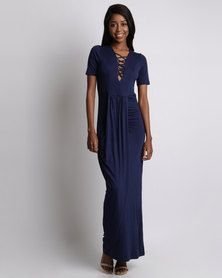 Utopia Grecian Dress With Lace Up Detail Navy