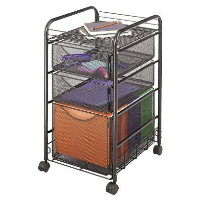 Safco Onyx Steel Mesh File Cart W/Two Supply Drawers In.x 17 In. X 27 In.  Black Safco Onyx Steel Mesh File Cart W/Two Supply Drawers Inch X 17 Inch X  27 ...