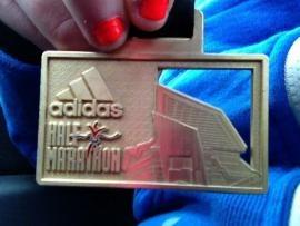 Orange nails to match the orange running vest! Congrats Christina Lewis on completing the Adidas Silverstone Half Marathon!