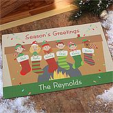 Personalized Christmas Doormats - Stocking Family. Celebrate your family with a fun-loving welcome, indoors or outdoors, with our exclusive Stocking Family Characters Personalized Doormat. We feature any greeting with your family name, along with everyone's first name personalized on the cuff for each character. Choose grandparent, adult, youth, or baby figures, male or female, light or dark complexions, even pets!. Price: $26.95