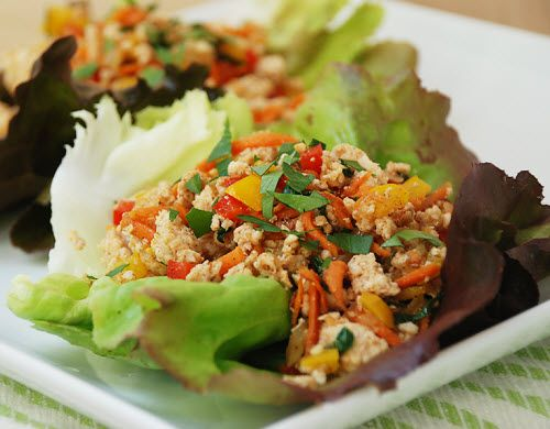 Chicken Vegetable Lettuce Cups - this would be good as a breakfast scramble in eggs.  Yum!