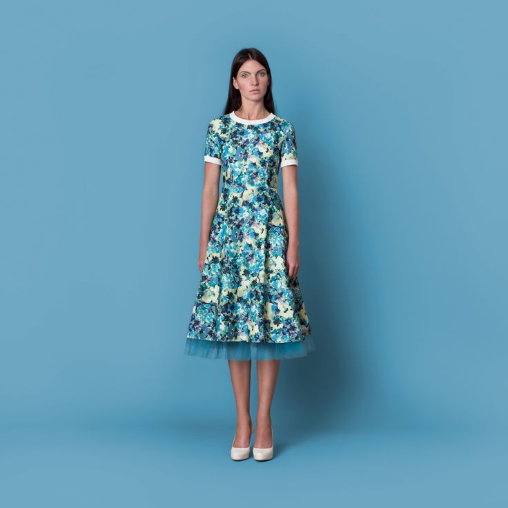 Cocoon Spring - Summer 2015 / Muss collection / Flower print blue dress with tulle underskirt.