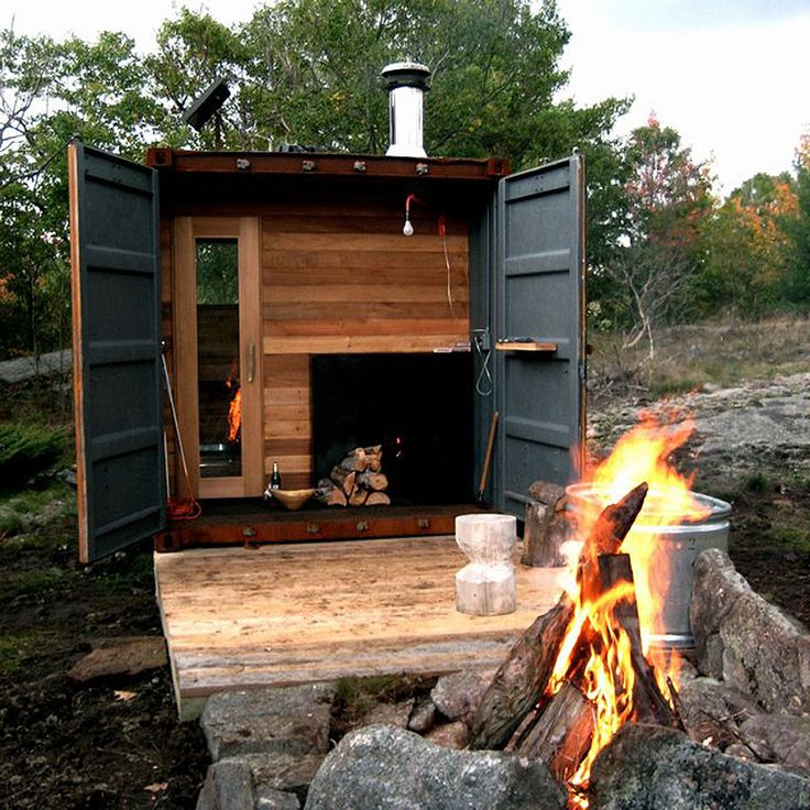 shipping container transformed into a sauna