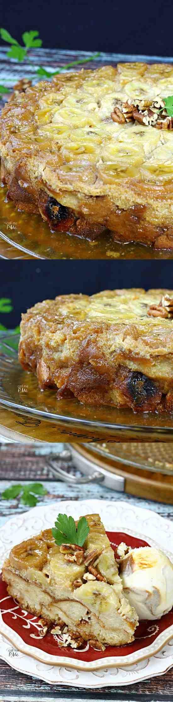 Bananas Foster Bread Pudding Recipe - banana, bread, cinnamon, dessert, milk, pecan, pudding, recipes, vanilla, walnut