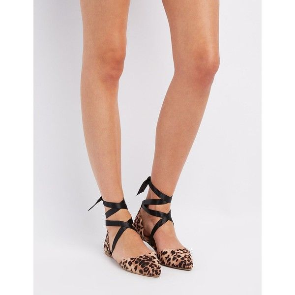 Charlotte Russe Leopard Ankle-Tie D'Orsay Flats ($20) ❤ liked on Polyvore featuring shoes, flats, classic leopar, pointed toe d orsay flats, leopard print flat shoes, leopard flat shoes, flat shoes and pointed toe leopard flats