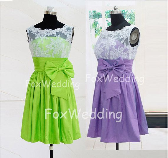 White Lace Bridesmaid Dress Two Tone Short Bridesmaid Dress Lime Green Bridesmaid Dress,Lime Green Prom Dresses Cheap Short Prom Dress 2014