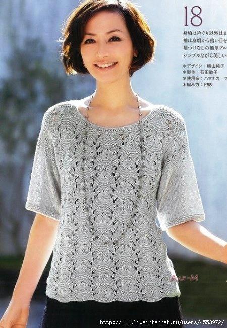 Летняя блузка спицами