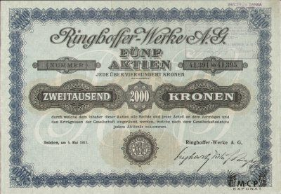 A0354 Muzeum cennych papiru RINGHOFFER-WERKE A.G. ( Ringhofferovy závody a. sp. ) 1911