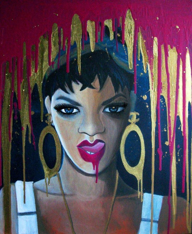 Rihanna 2013.  - 50x70cm, akryl na płótnie.